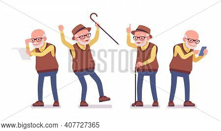 Old Man, Elderly Person With Cane, Mobile Phone. Senior Citizen, Retired Grandfather Wearing Glasses