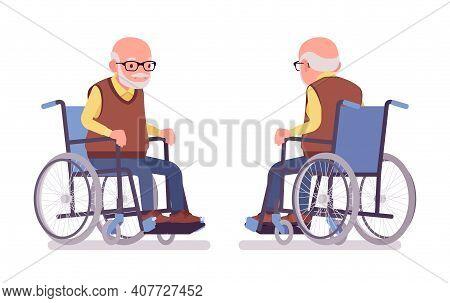 Old Man, Elderly Person Sitting In A Wheelchair. Senior Citizen, Retired Grandfather Wearing Glasses