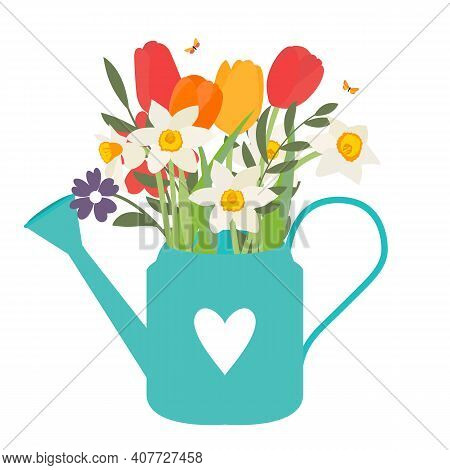 Garden Watering Can With Spring Flowers Tulips And Daffodils. Vector Illustration Eps10