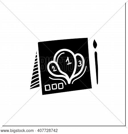 Painting By Numbers Glyph Icon. Pattern With Numbers And Interesting Picture. Paper And Brush For Cr