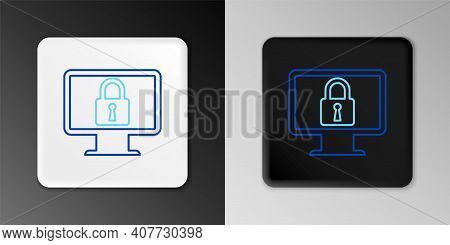 Line Lock On Computer Monitor Screen Icon Isolated On Grey Background. Monitor And Padlock. Security