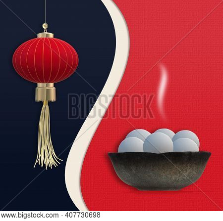 Chinese Lantern Festival. Chinese New Year. Food Dumplings In Bowl, Asian Lantern. Template For Chin