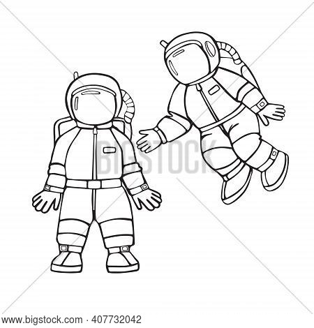 Two Little Astronauts. Cartoon Linear Vector Hand Drawing Icons Isolated On White Background.