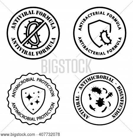 Antimicrobial Resistant Badges. Antiviral And Antimicrobial Formula. Clean Hygiene Label. Illustrati
