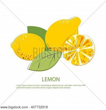 Composition Of Lemons With Green Leafs. Lemon Cut And Whole Lemon.