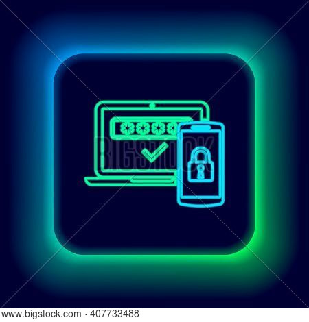 Glowing Neon Line Multi Factor, Two Steps Authentication Icon Isolated On Black Background. Colorful