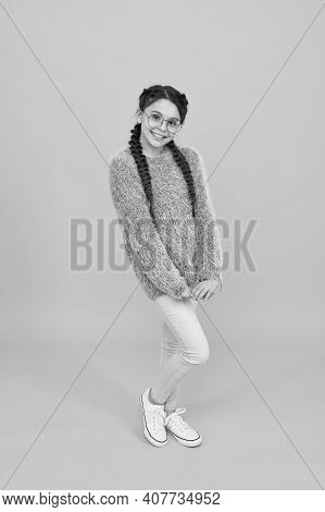 She Is An Optician. Portrait Of Happy Girl In Glasses. Cute Smiling Girl With Fashionable Hairstyle.