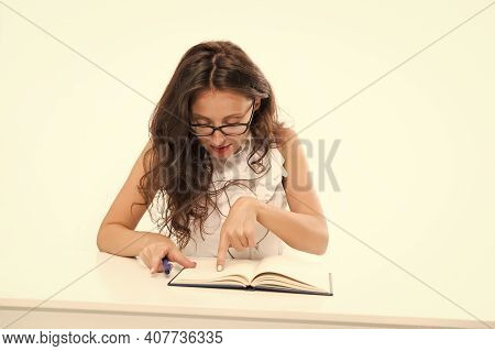 Smart Teacher Isolated On White. Student Courses. Businesswoman With Book In Office. Education For A