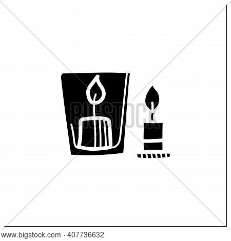 Handmade Candles Glyph Icon. Create Your Own Candles Using Dry Flowers. Enjoy The Beautiful Light Of