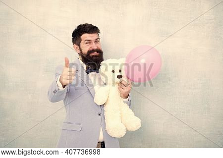 Valentines Day. Romantic Man With Teddy Bear And Air Balloon Waiting Girlfriend. Romantic Gift. Mach