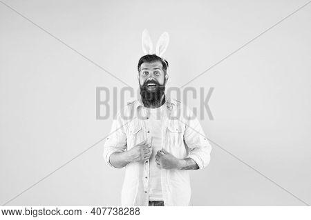 Always Wear Rabbit Ears. Happy Bunny Rabbit Yellow Background. Bearded Man Wear Rabbit Costume. New