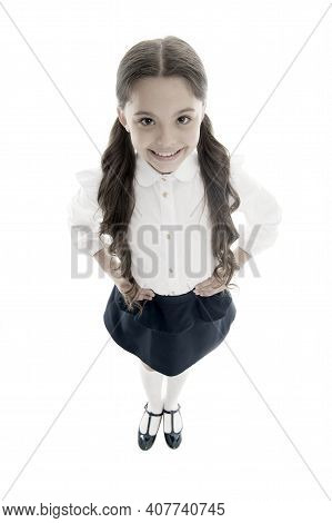 Pupil Of First Grade. Smiling Schoolgirl. Celebrate Knowledge Day. September Time To Study. Girl Cut