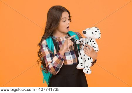 Kindergarten And Primary Education. Education For Small Children. Little Schoolgirl With Toy And Bac
