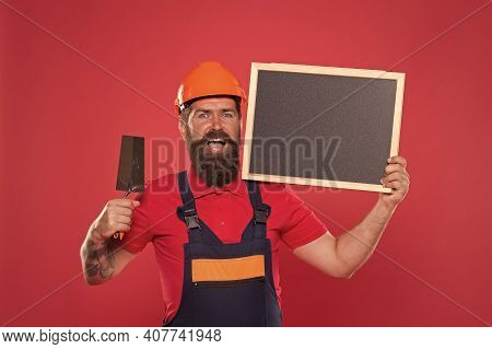 Professional Plasterer. Skillful Plasterer. Successful Renovation. Bearded Man Worker With Plasterin