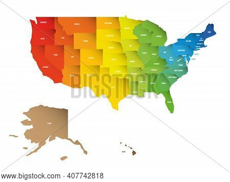 Colorful Map Of Usa, United States Of America. Rainbow Spectrum Colors With Shadow Overlapping Effec
