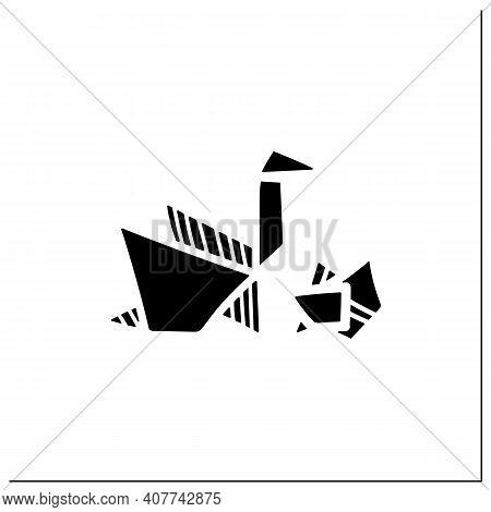 Origami Glyph Icon. Handmade Paper Japanese Bird. Aesthetic Art Of Paper Folding. Homemade Concept.