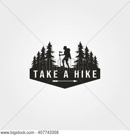 Take A Hike Logo Vector With Man Hiking Symbol Illustration Design