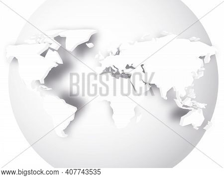 White 3d Map Of World With Dropped Shadow On White Globe. Worldwide Theme Wallpaper. Rendered Three-