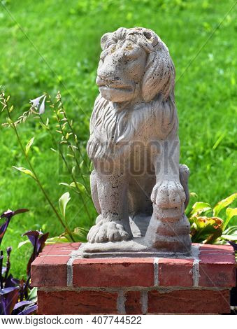 Lion Guarding Brick Wall