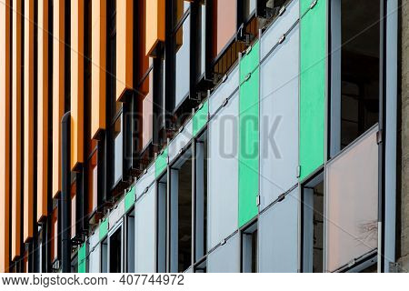 Finishing The Facade Of The Building With A Ventilated Facade. A Fragment Of A Residential Building,