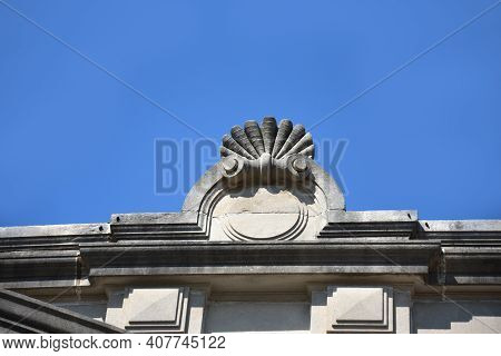 The Ruston State Bank, Ruston, Louisiana, Is Decorated In The Beaux Arts Style.  This Shell Decorati