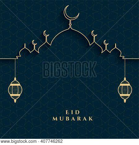 Eid Mubarak Festival Card In Golden And Black Colors