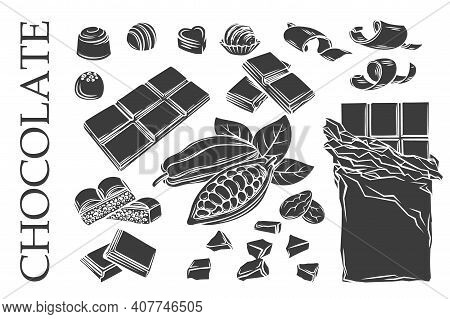 Glyph Monochrome Chocolate Icons Set. Silhouette Candy, Cocoa Beans, Chips, And Chocolate Bar For Co