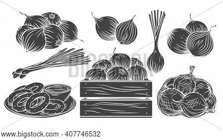 Onion Glyph Monochrome Icon Set. Isolated Pile Of Onion Bulbs, Packed In Net Bag, In Wooden Crate, B