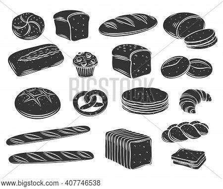 Bakery Bread Glyph Vector Of Rye, Whole Grain And Wheat Bread, Pretzel, Muffin, Pita , Ciabatta, Cro