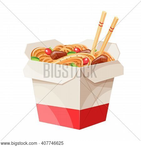 Takeaway Carton Wok Box Noodles With Veggies And Fried Pork. Takeout Carton Food Package With Noodle