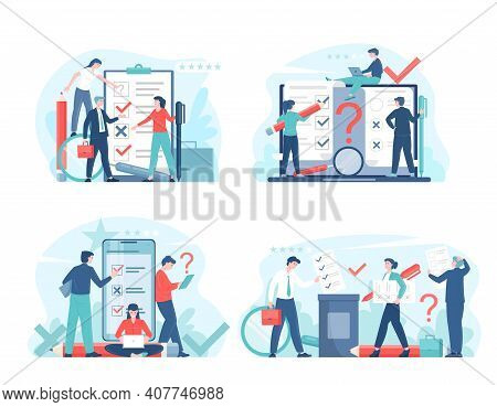 Online Voting Or Survey Concept Flat Vector Illustration With Voters Making Decisions. Man And Woman