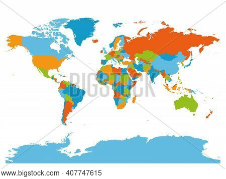 World Map. High Detailed Blank Political Map Of World. 5 Colors Scheme Vector Map On White Backgroun