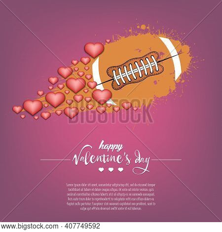 Happy Valentines Day And Football Ball