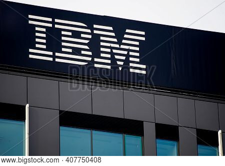 Bucharest, Romania - January 19, 2021: The Ibm Logo Is Seen On The Top Of The Ibm Romania Headquarte