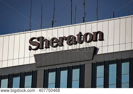 Bucharest, Romania - January 25, 2021: Sheraton Bucharest Hotel Located On Calea Dorobantilor, In Bu