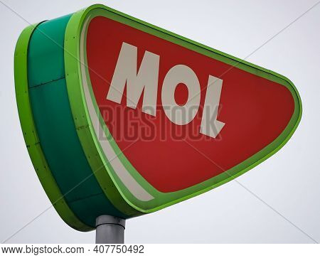 Bucharest, Romania - February 03, 2021: A Mol Gas Station Signal  Is Seen In Bucharest This Image Is