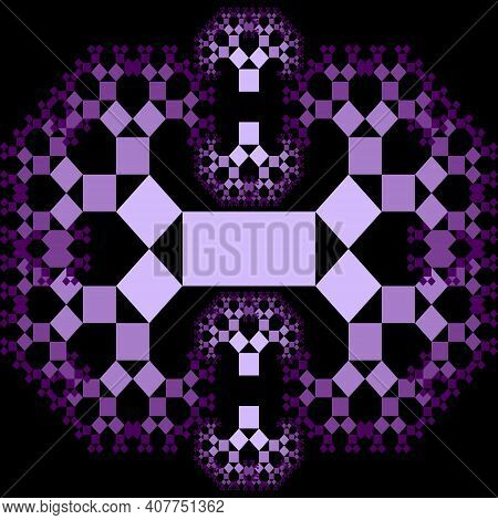 Fractal Pythagoras Tree Patterns, Purple Ornament Composed Of Small Decreasing Squares On Black Back