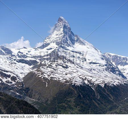 The Matterhorn Mountain On A Spring Morning At Zermatt