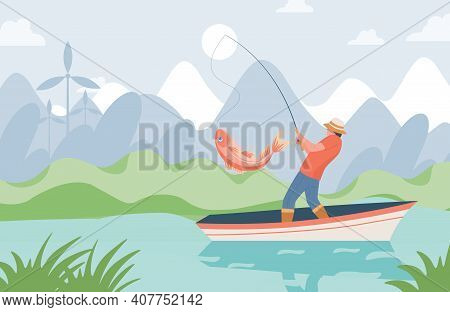 Fisherman With Fishing Rod Standing In Boat And Catching Big Pink Fish From Lake Vector Flat Illustr