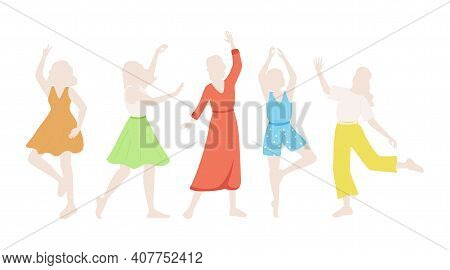 Set Of Mannequins Or Silhouettes In Different Poses Vector Flat Illustration Isolated On White. Fash