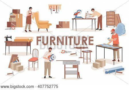 Furniture Word Banner Design With Text Space. Group Of Carpenters At Wooden Workshop Making Furnitur