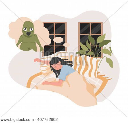 Tired Young Woman Lying In Bed At Night And Having Bad Dream With Big Creepy Green Stranger Or Monst