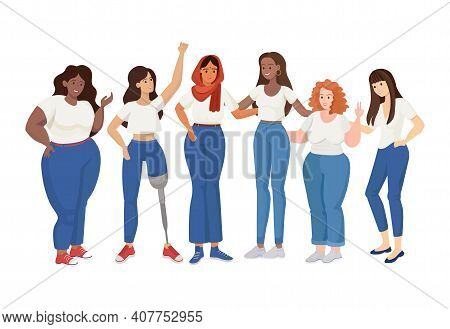 Group Of Standing Women Of Different Sizes And Races Vector Flat Illustration. Skinny And Curvy Wome