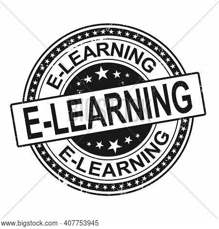 E-learning. Stamp. Black Round Grunge Vintage E-learning Sign