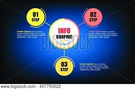 Infographic Circle Timeline 3 Elements And Number. Business Concept With 3 Steps. Presentation Busin