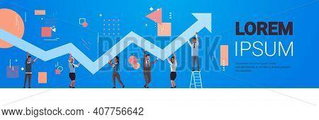 Businesspeople Holding Upward Financial Arrow Up Teamwork Successful Business Development Growth Con