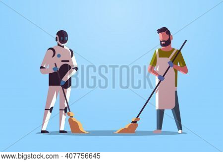 Robotic Janitor With Man Cleaner Sweeping And Cleaning Robot Vs Human Standing Together Artificial I