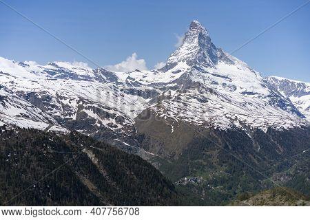 A Wide Angle Spring Morning View Of The Matterhorn Mountain From Near Zermatt