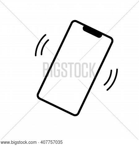 Smartphone Vibration Icon On White Background. Ringer Mobile Symbol. Flat Style. Mobile Phone Ringin