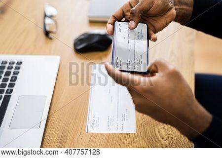 Remote Check Deposit Using Mobile Remote. Taking Photo